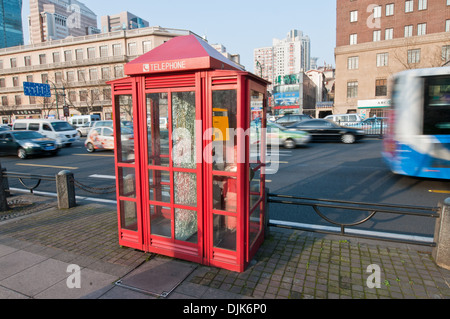 telephone booth at Middle Xizang Road in Huangpu District, Shanghai, China - Stock Photo