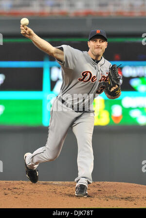 Sep. 01, 2010 - Minneapolis, Minnesota, United States of America - Detroit Tigers starting pitcher Max Scherzer - Stock Photo