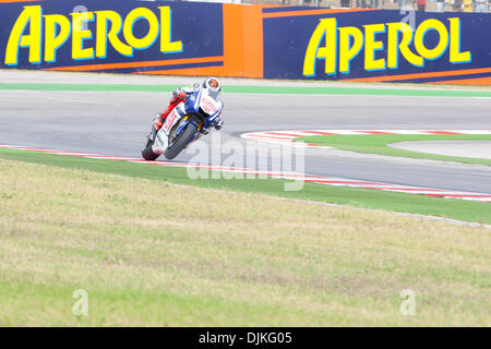 Sep. 05, 2010 - Misano Adriatico, Italy - FIAT Yamaha rider Jorge Lorenzo (SPA #99) defend his second place of the - Stock Photo