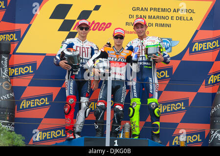 Sep. 05, 2010 - Misano Adriatico, Italy - Race podium, from left Jorge Lorenzo (2nd place), Dani Pedrosa (Winner) - Stock Photo