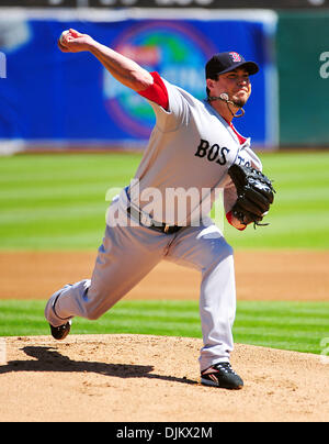 Sept. 12, 2010 - Oakland California, U.S. - Boston Red Sox pitcher Josh Beckett pitches against the Oakland Athletics - Stock Photo