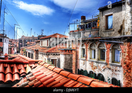 view of the roofs of San Polo sestiere in Venice, Italy - Stock Photo