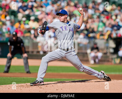 Sept. 25, 2010 - Oakland, California, United States of America - July 24, 2010: Texas Rangers starting pitcher Derek - Stock Photo