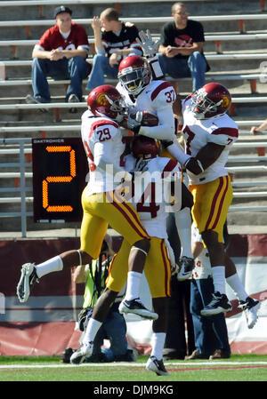 Sept. 25, 2010 - Pullman, Washington, United States of America - Sept 25, 2010:  USC defense celebrates a touchdown - Stock Photo