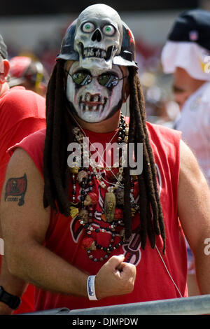 Sep. 26, 2010 - Tampa, Florida, United States of America - Tampa Bay Buccaneers fanatic cheers on his team at Raymond - Stock Photo