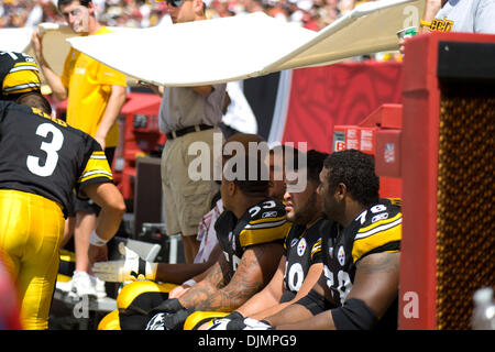 Sep. 26, 2010 - Tampa, Florida, United States of America - Pittsburgh Steelers have a tent like barrier held over - Stock Photo
