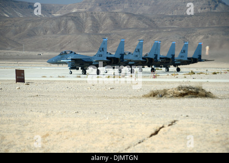A group of F-15E Strike Eagles stage prior to take off during the Blue Flag exercise on Uvda Air Force Base, Israel - Stock Photo