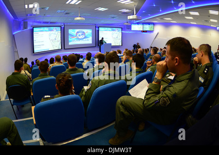 Exercise participants from the U.S., Israel, Greece, and Italy along with other distinguished visitors attend a - Stock Photo