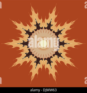 Artistic mandala pattern in brown and beige - Stock Photo