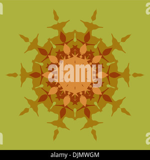 Artistic mandala pattern in brown and green - Stock Photo