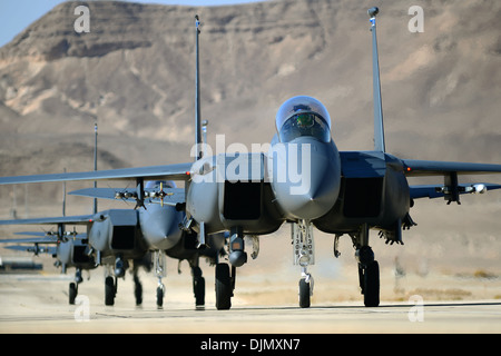 F-15E Strike Eagles taxi following a combat mission during the Blue Flag exercise on Uvda Air Force Base, Israel - Stock Photo