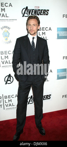 Tom Hiddleston Marvel's ' Avengers' premiere during closing night of 2012 Tribeca Film Festival at BMCC Tribeca - Stock Photo