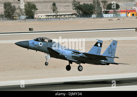 An Israeli Air Force F-15I takes off during the Blue Flag exercise on Uvda Air Force Base, Israel Nov. 26, 2013. - Stock Photo