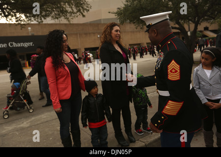 Sgt. Maj. Michael Logan, sergeant major for Marine Corps Recruiting Command, greets members of the crowd during - Stock Photo