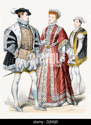 16th Century XVI 1500s France Left to right Francis II, Elizabeth Daughter of Henry II,Francis II as Dauphin. - Stock Photo