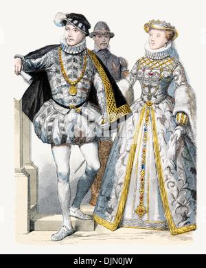 16th Century XVI 1500s France Left to right Charles IX, Consort Elizabeth of Austria - Stock Photo
