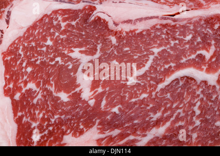Ribeye steak from Australian Wagyu cattle, close-up to show the marbling of the fat - Stock Photo