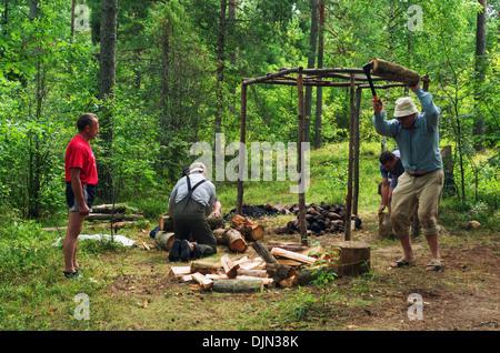 Travel bath-sauna in the forest near river - 1. - Stock Photo