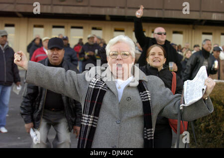 Mar 02, 2008 - South Ozone Park, Queens, NY, USA - Margie Gilmartin, a Carol Cedeno fan, cheers at Aqueduct. Carol - Stock Photo