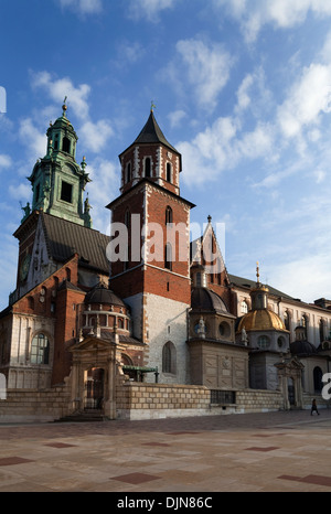 The Wawel Cathedral Tower and domes above the Sigismund Chapel, 11th Century Royal Castle on Wawel Hill, Krakow, - Stock Photo