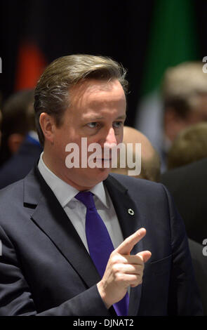 Vilnius, Lithunania. 29th Nov, 2013. British Prime Minister David Cameron speaks during the plenary session of the EU summit in Vilnius, Lithunania, 29 November 2013. The dispute between Great Britain's Prime Minister and the EU commission over the free movement of employees in Europe continues. Photo: Rainer Jensen/dpa/Alamy Live News
