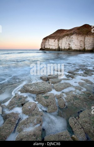 Thornwick Bay at Dusk Flamborough Head Head East Riding of Yorkshire England - Stock Photo