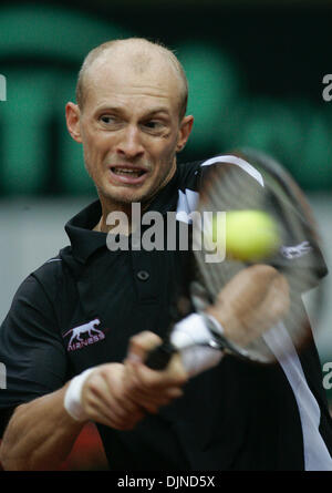 Apr 11, 2008 - Moscow, Russia - Davis Cup in Moscow , Russia vs Czech Republic. Pictured: Russian player NIKOLAI - Stock Photo