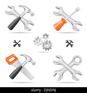 The tools icon set cross with each other isolated on a white background - Stock Photo