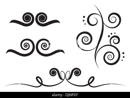 Swirl art elements for design and decorate isolated on the white background - Stock Photo