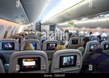 ... Interior Of A Boeing 787 Dreamliner Thompson Airways Aircraft Showing  The Individual Passenger In Flight Entertainment