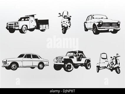 Silhouette cars. Vector illustration of old vintage custom collector's cars and motorcycle - Stock Photo