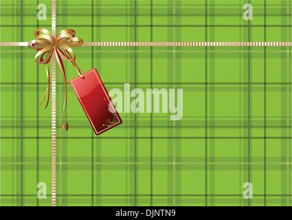 Vector illustration of green Scottish plaid gift wrapping with golden ribbon, bow and red empty tag - Stock Photo