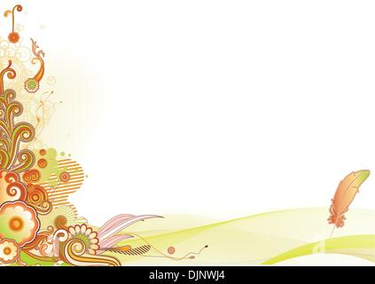 Vector illustration of urban retro styled design made of floral and ornamental elements. - Stock Photo