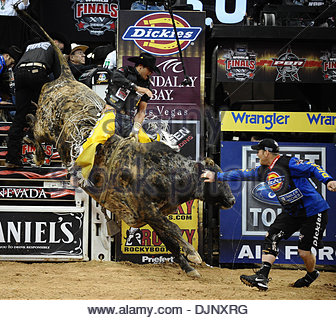 Nov 09, 2008 - Las Vegas, Nevada, USA - Brazil's ROBSON PALERMO takes 1st place in the 2008 PBR World Finals event - Stock Photo