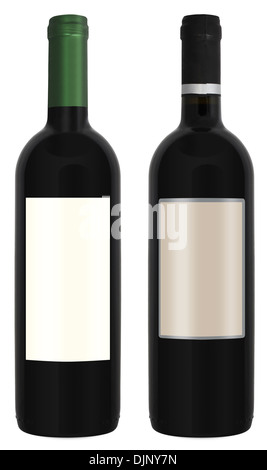 Two bottles of red wine isolated on white background - Stock Photo