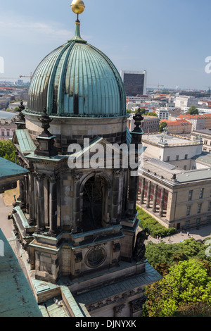 View from atop the Berlin Cathedral or Berliner Dom, built in 1905, by King Frederick William IV. - Stock Photo