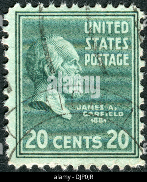 USA - CIRCA 1938: Postage stamps printed in USA, shows 20th President of the United States, James Abram Garfield, - Stock Photo
