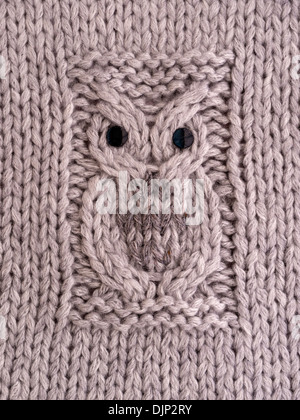 Hand Knitted Owl Motif Pattern On Cushion Cover In Grey Wool Stock