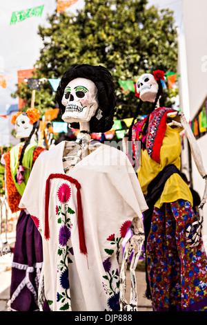 Skeleton decorations celebrating the Day of the Dead festival November 1, 2013 in Oaxaca, Mexico. - Stock Photo