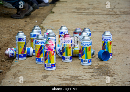 Whole set of the 'Acuario' Spray cans at the event of painting the Cartago Stadium walls - Stock Photo