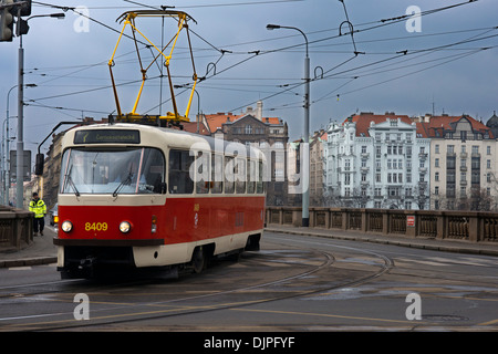 Trams in Prague .The Prague tram network is 135 kilometers and has 25 daytime lines and 9 at night. In combination - Stock Photo
