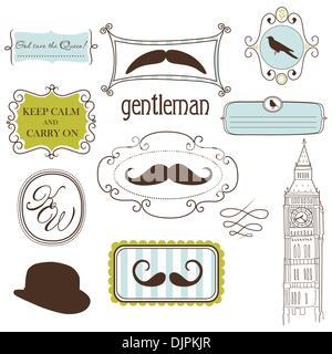 Keep calm and carry on. Doodle frames in British style - Stock Photo