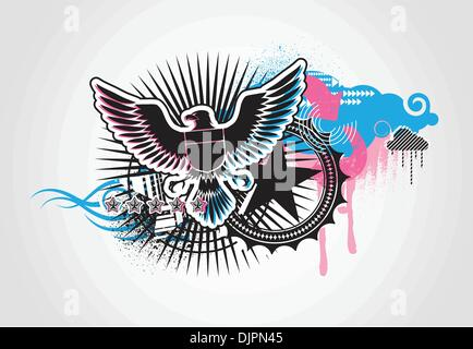 Vector illustration of style Decorative urban background with coat-of-arms  Medieval Eagle - Stock Photo