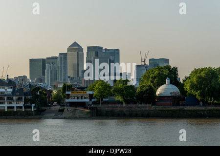 Canary Wharf and the Isle of Dogs from Greenwich - Stock Photo