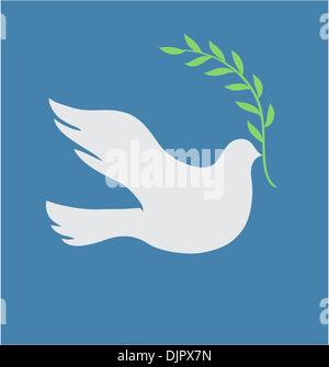 Vector Concept illustration of Beautiful white dove in flight holding an Olive Branch - Stock Photo