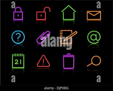 Vector set of elegant neon simple icons for common computer functions - Stock Photo
