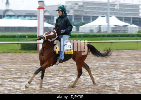 Apr. 27, 2010 - Louisville, Kentucky, U.S. - Discreetly Mine with  Obed Perez up flailed around during Derby preparation - Stock Photo