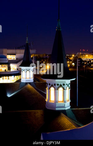 Apr. 27, 2010 - Louisville, Kentucky, U.S. - The Twin Spires at night at Churchill Downs on Wednesday April 28, - Stock Photo