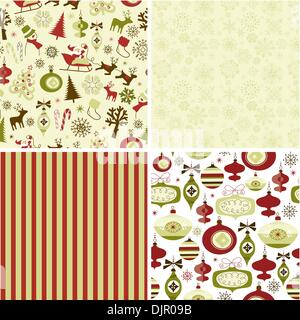 Set of Christmas patterns - Stock Photo
