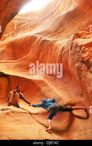 May 03, 2010 - Moab, Utah, USA - A group of mountain bikers secured a permit for the White Rim Trail that runs through - Stock Photo